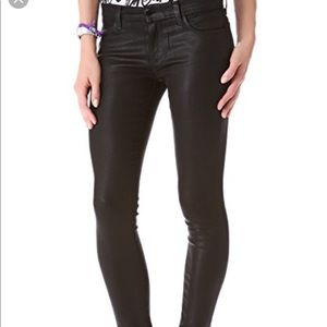 J brand super skinny shiny coated jeans